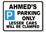 AHMED'S Personalised Gift |Unique Present for Him | Parking Sign - Size Large - Metal faced